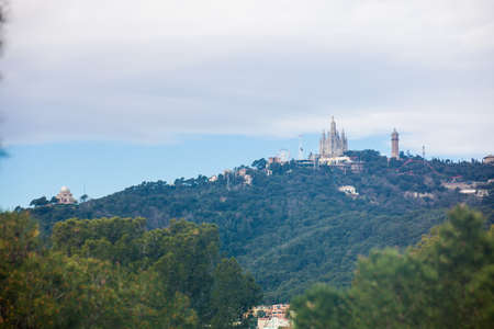 Tibidabo mountain seen from Park Guell