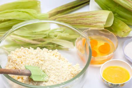 Colombian Sweet Corn Wrap Preparation 写真素材
