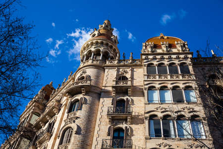 Beautiful building at Passeig de Gracia in Barcelona Spain Stok Fotoğraf