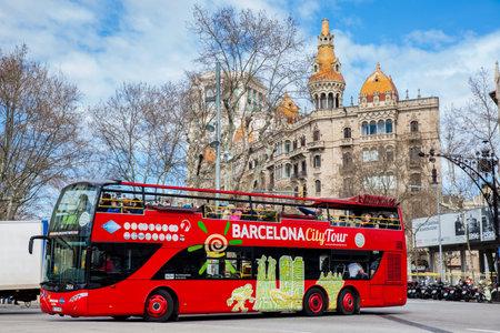 Touristic bus at Gran Via de les Corts Catalanes in Barcelona Spain
