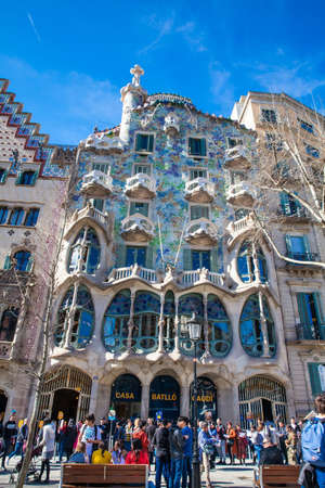 Tourists at the Gaudis designed Casa Batllo in Barcelona Spain