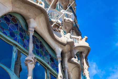 Detail of the Gaudis designed Casa Batllo in Barcelona Spain