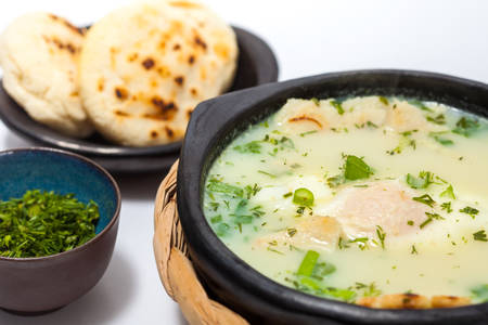 Traditional Colombian Poached Egg Soup called changua