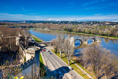 The fortified city of Avignon at the French Provence
