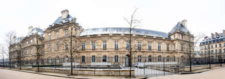 Panorama of  the Luxembourg Palace in a freezing winter day