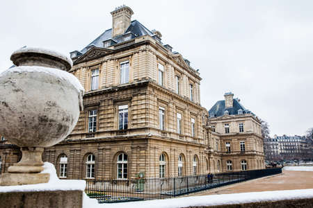 The Luxembourg Palace in a freezing winter day just before spring