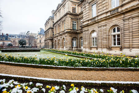 The Luxembourg Palace garden in a freezing winter day just before spring