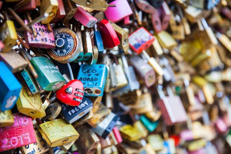 Close-up of the Love locks at Pont Neuf in Paris Editorial