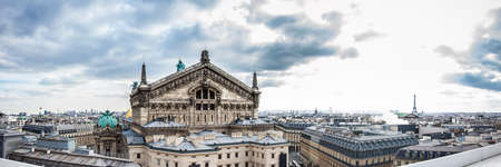 Panorama of the beautiful Paris City seen from the rooftop of the Lafayette Galeries in a cold winter day
