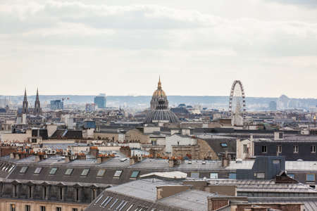The beautiful Paris City seen from a rooftop in a cold winter day