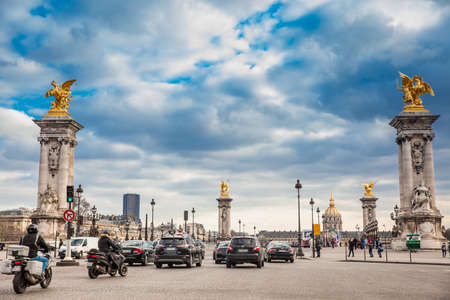 The Pont Alexandre III in a freezing winter day in Paris