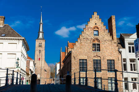 The historical town of Bruges and the antique St Annes Church