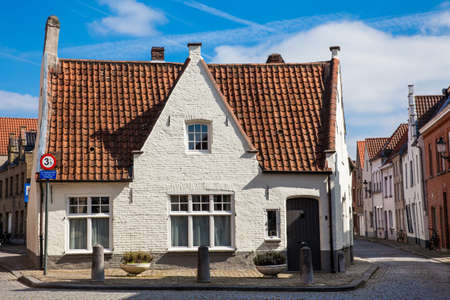 Traditional architecture of the historical Bruges town center Stock Photo
