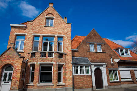 Traditional arquitecture of the historical Bruges town center