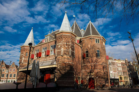 Beautiful 15th-century building located at Nieuwmarkt square in Amsterdam Editorial