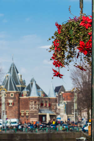 On the first days of spring beautiful red flowers embellish the bridges at the Old Central district in Amsterdam