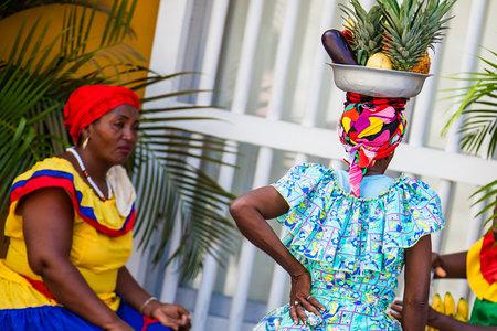 Traditional fruits street vendor in Cartagena de Indias called Palenquera