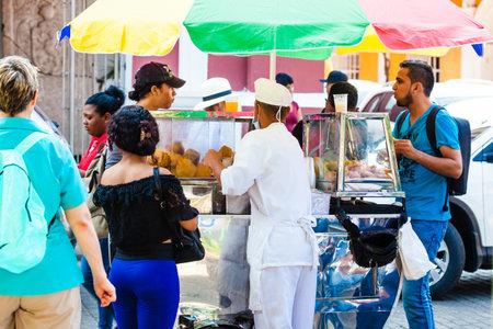Street of typical fried food in Cartagena de Indias