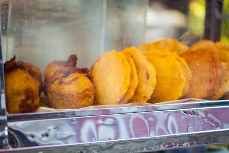 Street sale of typical fried food in Cartagena de Indias 写真素材