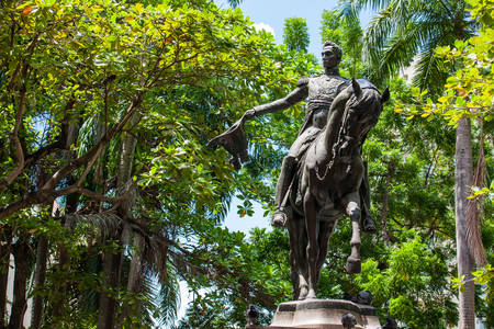 Simon Bolivar statue located at the Bolivar park in the walled city in Cartagena de Indias