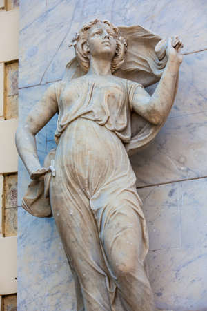 Polyhymnia muse statue at the facade of the Adolfo Mejia theater in Cartagena de Indias