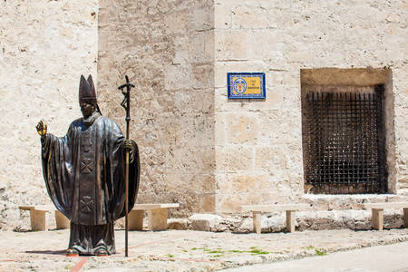 Statue of the Pope John Paul II located next to the Cathedral Saint Catherine of Alexandria in Cartagena de Indias