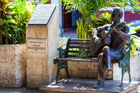 Adolfo Mejia statue located in San Diego square in the walled city of Cartagena de Indias Editorial