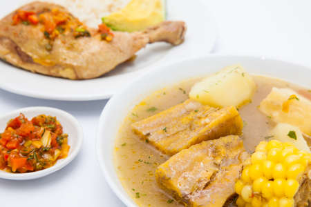 Traditional Colombian soup from the region of Valle del Cauca called sancocho
