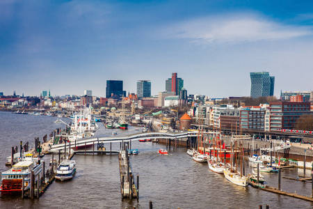 View of a Hamburg harbor on a beautiful early spring day Editorial