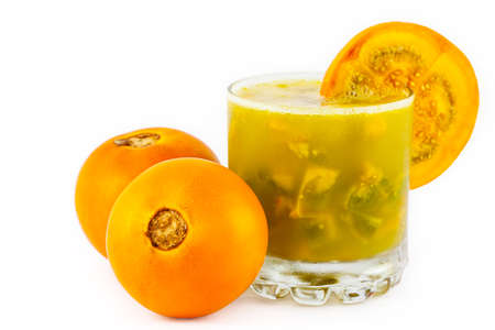 Traditional Colombian beverage made of juice and pieces of lulo (Solanum quitoense) called lulada