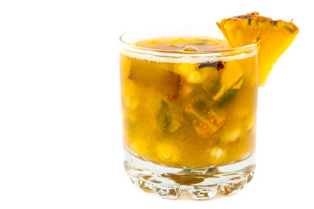 Traditional Colombian beverage from the region of Valle del Cauca made of lulo (Solanum quitoense), pineapple and corn called champus Stock Photo