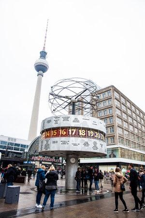 The Urania World Clock located in the public square of Alexanderplatz in Mitte, Berlin