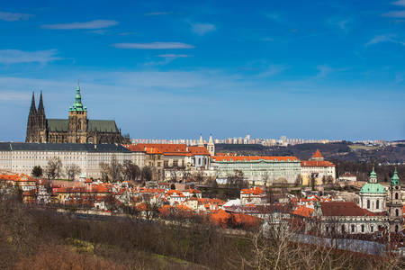 Prague Cathedral and city seen from Petrin Hill in a beautiful early spring day Stock Photo
