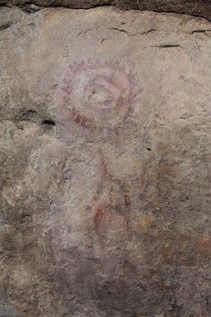 Prehistoric paintings on rock known as petroglyphs in the municipality of Facatativa in Colombia