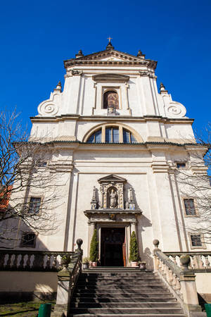 Discalced Carmelite Church of Our Lady Victorious also called Shrine of the Infant Jesus of Prague in Mala Strana at old town in Prague Stock Photo