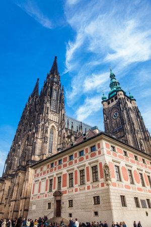 Tourists at the Metropolitan Cathedral of Saints Vitus, Wenceslaus and Adalbert in Prague Editorial