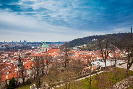 Petrin hill and the beautiful Prague city old town seen form the Prague Castle viewpoint in an early spring day