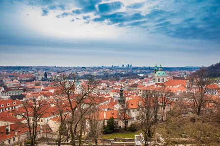 The beautiful Prague city old town seen form the Prague Castle viewpoint in an early spring day Stock Photo