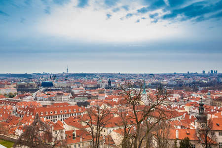 The beautiful Prague old town seen from the Prague Castle viewpoint in an early spring day Stock Photo