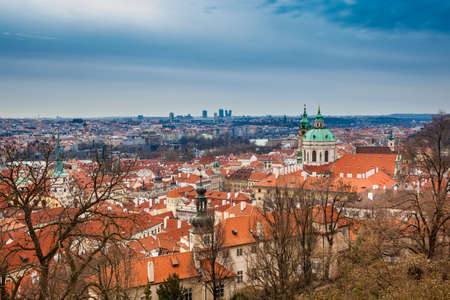 The beautiful Prague city old town seen form the Prague Castle viewpoint in an early spring day Zdjęcie Seryjne
