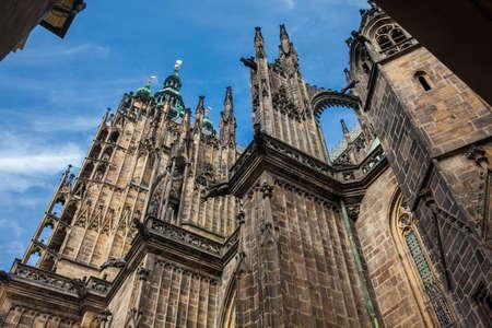 Details of the facade of the Metropolitan Cathedral of Saints Vitus, Wenceslaus and Adalbert in Prague