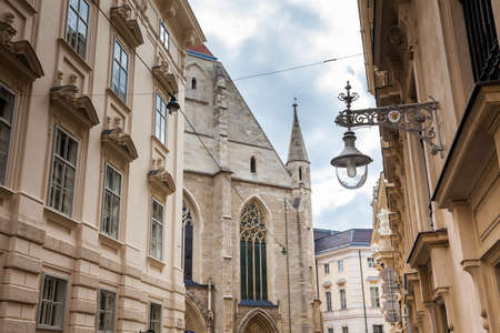 Beautiful street lamp and architecture of the  Innere Stadt of Vienna Stock Photo