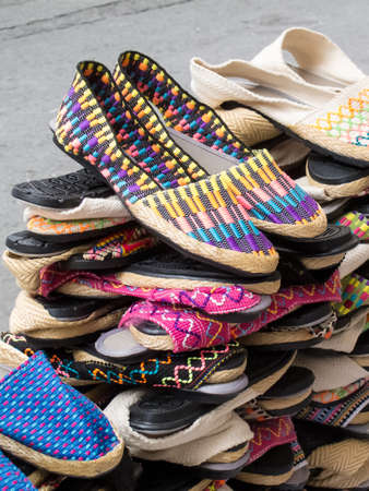 Street sell of traditional espadrilles at Cali city center