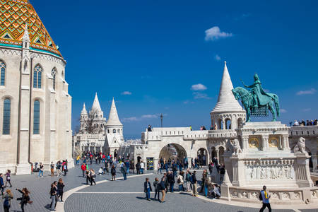 Fisherman Bastion a terrace located on the Buda bank of the Danube at the Castle hill built on 1902 Фото со стока - 122441460