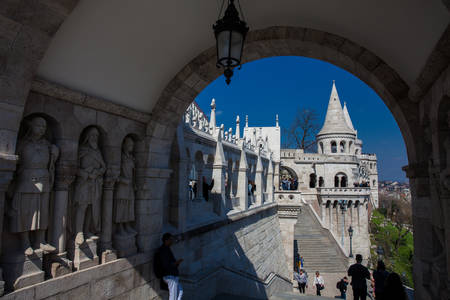 Fisherman Bastion a terrace located on the Buda bank of the Danube at the Castle hill built on 1902 Editorial