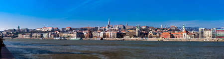Panorama of the Buda bank of the Danube of the Budapest city in a beautiful early spring day Фото со стока