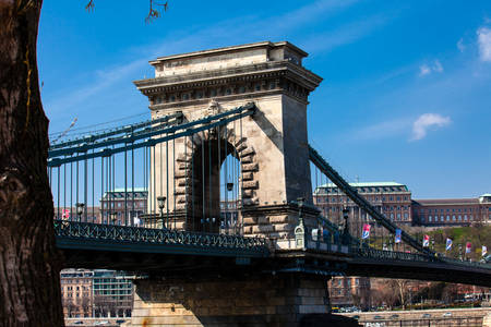 The historical Szechenyi Chain Bridge a suspension bridge that spans the River Danube between Buda and Pest first opened in 1849
