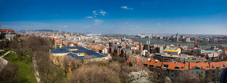 Panorama of the Budapest city and the Danube river in a beautiful early spring day