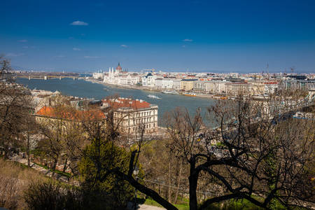 View of the Budapest city, chain bridge and Danube river