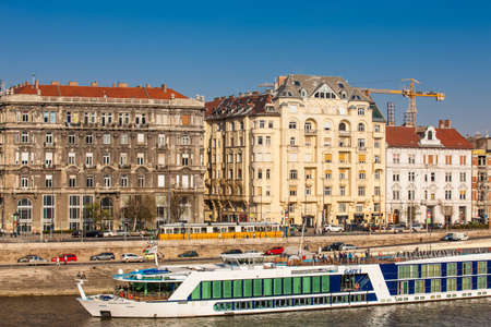 Big touristic boats at Danube river in Budapest